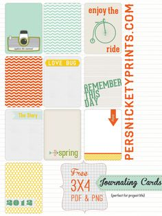 "FREEBIE: ""3x4 Project Life Journaling Cards"" by Persnickety Prints"