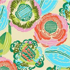 This gorgeous Amy Butler Bright Heart Coco Bloom Bisque Fabric is a floral delight!