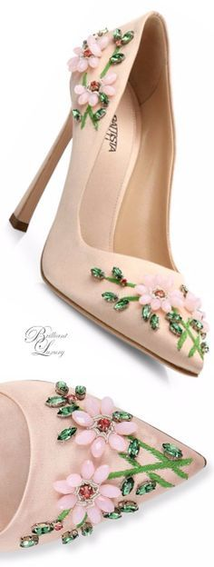 Brilliant Luxury * Giambattista Valli 'Floral-Embroidered Satin Pumps' SS 2016