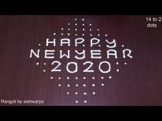 Dot Rangoli: 14 to 2 Happy New Year Rangoli 2020
