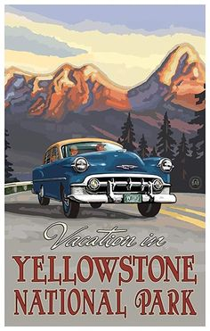 Treat your family to a Beartooth Highway Road Trip! It's still as stunning as it was back then! Montana and Wyoming. National Park Posters, National Parks, Beartooth Highway, Highway Road, Vintage Travel Posters, Retro Posters, Poster Vintage, Vintage Signs, Vintage Art