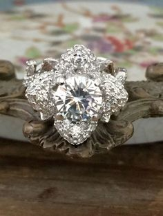 9a7d9035d3 A Museum Perfect 2.6CT Russian Lab Diamond Engagement Promise Wedding  Floral Ring Lotus Ring,