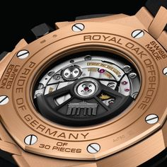 A play of black contrasts on a pink gold case. Royal Oak Offshore Selfwinding Chronograph Pride of Germany - Ref. Audemars Piguet, Rolex, Royal Oak Offshore, Watch This Space, Formal Shoes, Pink And Gold, Bracelets, Germany, Leather