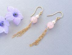 Rose Quartz Gold Tassel Earrings, Gold Tassel Earrings with Rose Quartz and Pearls, Rose Quartz and Pearl Tassel Earrings on 14k Gold Filled by AustinDowntoEarth on Etsy