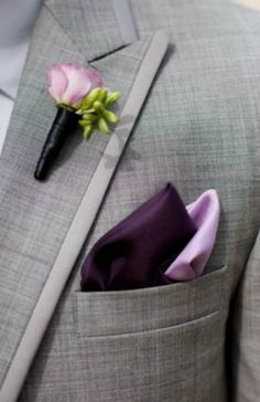 Purple and Grey Fall Wedding Color Inspiration: White bride with bouquets in shades of purple, Bridesmaids in purple dresses, grey suits and purple ties for groom and groomsmen, grey table linens with purple napkins… Fall Wedding Colors, Purple Wedding, Trendy Wedding, Dream Wedding, Spring Wedding, Tuxedo Wedding, Wedding Suits, Wedding Attire, Wedding Tuxedos