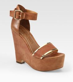 Elizabeth And James Sibil Leather and Metallic Leather Platform Wedge Sandals in Brown (tan)