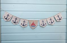 Ahoy there / Striped anchor flag bunting in by KatzCornerBoutique