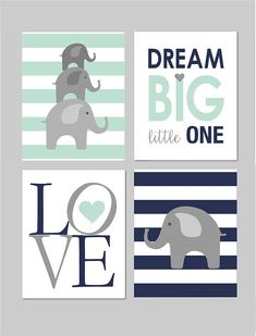 Mint Nursery Decor Elephant Nursery Decor Elephant Nursery