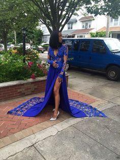 Royal-Blue Long-Sleeves Lace Side-Slit Sexy Deep-V-Neck Prom Dresses P – shinydress Prom Girl Dresses, V Neck Prom Dresses, Prom Outfits, Satin Dresses, Homecoming Dresses, Evening Dresses, Gowns, Formal Dresses, Wedding Dresses