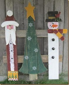 fence panel santas, snowmen and trees - Google Search