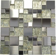 Sleek stainless steel tiles are a hot trend right now. Learn how to choose and install the perfect mosaic or tile for your kitchen, bathroom, or fireplace. Stone Mosaic Tile, Mosaic Glass, Wall And Floor Tiles, Wall Tiles, Glass Subway Tile, Glass Tiles, Glass Art, Glass Installation, Glass Floor