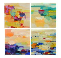 Print, Abstract painting, oil painting, set 12x12, wall art- wall decor, landscape