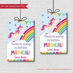 Send a magical thank you to your party guests with a set of our Unicorn Birthday Party Favor Tags. Each tag is a rectangle and measures about 3.5 inches high by 2.25 inches wide. The tag features a dancing unicorn, rainbow and other rainbow touches. The tag can be personalized with your childs name and age. They are the perfect addition to your unicorn themed celebration. Each tag measures 2.25 wide and 3.5 high and is customized with your childs age. Choose your tag with a punched hole or…