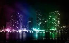 Colorful city lights with buildings on water - Creative Desktop Background City Lights Wallpaper, Lit Wallpaper, Iphone Wallpaper, Hd Wallpapers 1080p, Widescreen Wallpaper, Australia Wallpaper, Ville New York, A State Of Trance, Cool Backgrounds