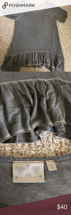 """NWOT grey Danielle ruffle top 🍾 NWOT. smoke free home. Charcoal color. """"Faded"""" style. Perfect for leggings or jeans. Dantelle Tops"""