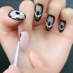 Nail Art Designs Videos, Nail Art Videos, Simple Nail Art Designs, Easy Nail Art, Diy Nail Designs Step By Step, How To Nail Art, Nail Designs Spring, Halloween Acrylic Nails, Halloween Nail Designs