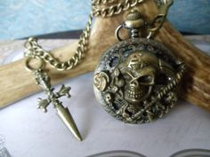 Pirate pocket watch men's pocket watch by Charsfavoritethings, $48.00