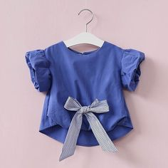 Hurave 2017 Summer New Arrival Girls Shirts Kids Clothes Children Bow Blouses Clothing Casual Short Sleeve Girls Shirts Blouses Fashion Kids, Little Girl Dresses, Girls Dresses, Kids Outfits, Cute Outfits, Frocks For Girls, Girls Blouse, Baby Kids Clothes, Affordable Clothes