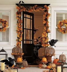 How do You Decorate for Halloween? Share with us your Halloween Decorating Ideas. Do you decorate your house indoors, outdoors or both? What is your favorite part or decoration? Take a look at some of our favorite Halloween decorating ideas. Halloween Veranda, Halloween Porch, Fall Halloween, Halloween Doorway, Halloween Entryway, Outdoor Halloween, Halloween Clothes, Halloween Halloween, Rustic Halloween