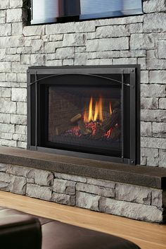 Quickly and easily replace your wood fireplace with a new gas insert. Say goodbye to wood and hello to gas! Corner Gas Fireplace, Electric Fireplace Heater, Build A Fireplace, Wall Mount Electric Fireplace, Old Fireplace, Cast Iron Fireplace Insert, Wood Burning Fireplace Inserts, Fireplace Insert Installation, Artificial Fireplace