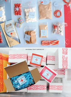 Snowball Fight Survival Kit Gift Package Idea! So clever and heart-warming.