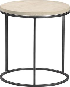 grind sandstone side table in accent tables | CB2  accent table with iron base, and natural stone top.