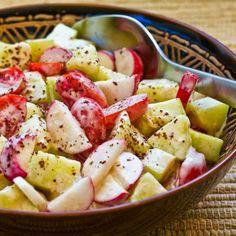 Tomato, Cucumber, and Radish Salad with Yogurt and Tahini Dressing found on KalynsKitchen.com