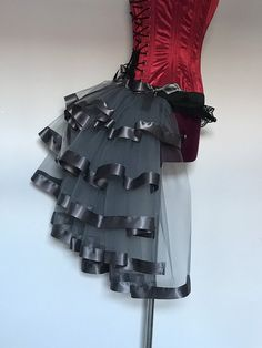 Gray Pewter burlesque bustle belt 5 layers black tulle dress net trimmed with satin ribbon Steam punk Goth New for 2019 Corset for display only.