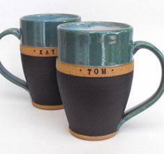PAIR, Custom Name Mug, Wheel Thrown, Personalized, Scratch Made Pottery by Mud Pie Studio, $64