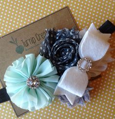 Easter Headband Mint & Gray Headband Ballerina Flower Photo Prop Spring Headband