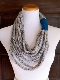 Long Chunky Crochet Chain Cowl Necklace by thislovesthat on Etsy, $24.00
