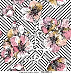 Seamless pattern with soft pink and gold flowers cherry on a black geometric background. Vector illustration.