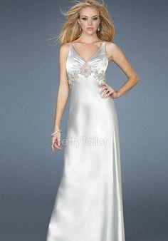V Neck Floor Length Elastic Silk Like Satin A line Sleeveless Evening Dress
