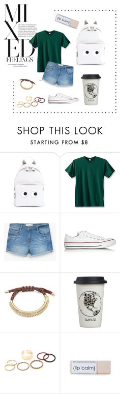 """""""School outfit"""" by shabirabirabwa ❤ liked on Polyvore featuring Anya Hindmarch, Hanes, MANGO, Converse and Natural Life"""