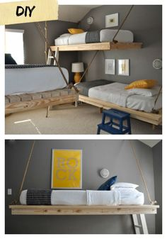 I love these 2x4 floating beds!  What an inexpensive and super cool way to add beds to a bunk room or a shared kids room! Diy furniture plans free project bed bunk wall hanging floating anawhite.
