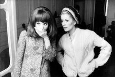 Françoise Dorléac and Catherine Deneuve on the set of Les Demoiselles de Rochefort, 1966.