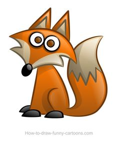 Cute cartoon fox with a large tail and pointed nose. :)