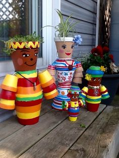 Clay pot family with plant hair.