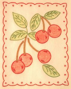 cherries embroidery by happy zombie!