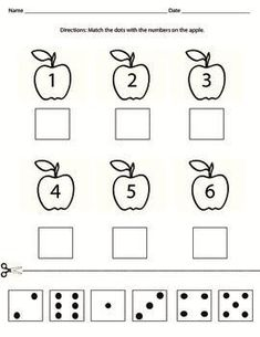 Cut and paste domino dots with the matching number.Perfect activity to teach numbers or to reinforce number sense. Can be used in the Fall with the apple theme. Teaching Numbers, Numbers Preschool, Preschool Math, Kindergarten Worksheets, Math Classroom, Teaching Math, Apple Activities, Preschool Activities, Apple Theme