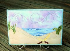 Art Quilt Fabric PostcardBeach Landscape with by SewUpscale, $15.00
