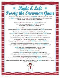 Right Left Frosty the Snowman Game by Debbie Eash-Allen
