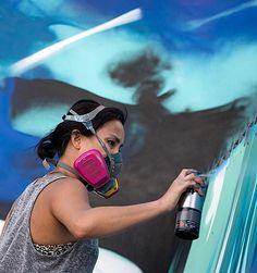 Hueman @hueman_ layering paint on a BIG mural. Stay tuned. #wip @wynwoodwallsofficial #wynwoodwalls #streetart by marthacoopergram