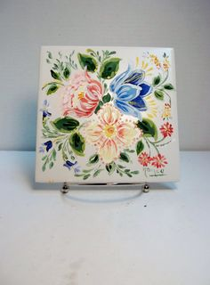 Garden Decorative Tiles Ceramic Tile Yellow Hand Painted Design Garden Flowerstulips