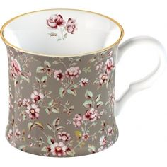 Pretty Ditsy Floral Gray fine bone china palace mug with gold rim from the Katie Alice collection