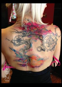 The use of color in this back piece is superb.Tattoo by Justin Nordine #InkedMagazine #backtattoo #tattoos #Inked #ink #art