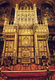 The House of Lords Chamber was designed by Charles Barry and Augustus Pugin after the fire of 1834. The ornate room is decorated in red and gold and at each end of the Chamber there are three frescos representing Religion, Justice and Chivalry.