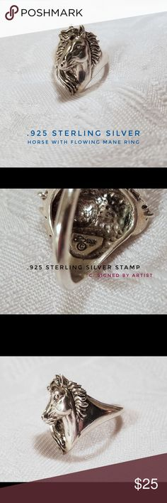 .925 Sterling Silver Horse With Flowing Mane Ring .925 Sterling Silver Horse With Flowing Mane Ring Size 7 ((NEW ITEM))  This is a brand new, never used, worn or displayed stamped  .925 Sterling Silver horse head ring accentuating it's beautifully detailed flowing mane size 7. Jewelry Rings