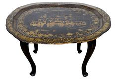 Chinoiserie Tray Table on OneKingsLane.com Lacquer Furniture, Oriental Furniture, Vintage Market, Vanity Bench, Chinoiserie, Vintage Furniture, Canton, Laque, Antiques