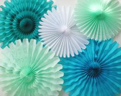 Tissue paper fans Sea mint green teal turquoise by DellaCartaDecor